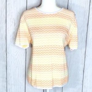 Alfred Dunner Yellow & Orange Stripped Knit Blouse